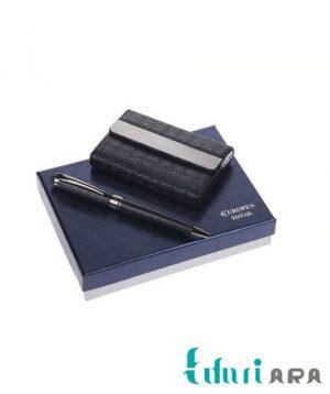ست خودکار استایلوس و کیف کارت ویزیت یوروپن مدل Totak